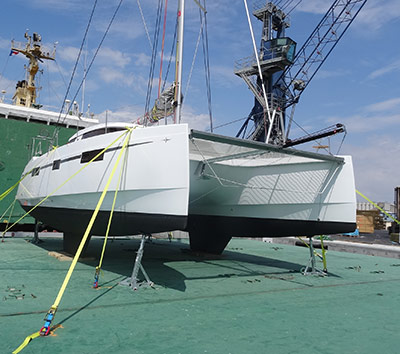 Nautitech Open 40 catamaran shipping La Rochelle to Basse-Terre